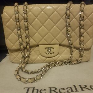 Chanel Maxi Flap Bag beige